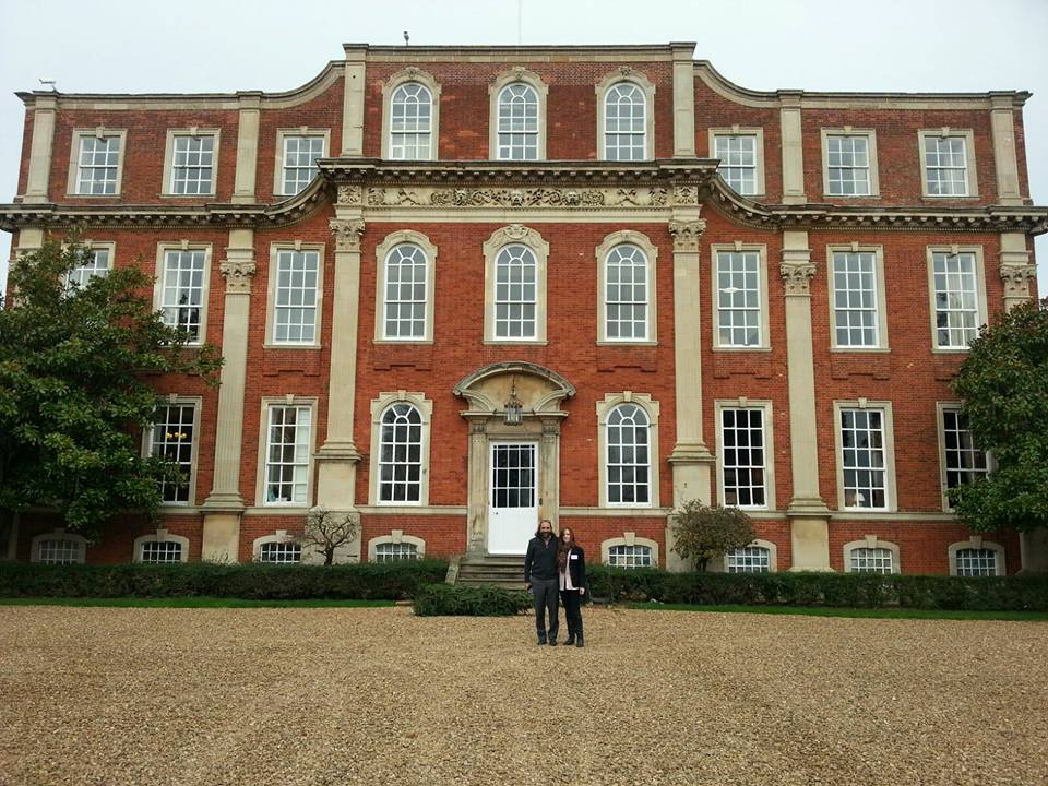 Nassim and Amira outside the Kavli Royal Society International Centre, Chicheley Hall.