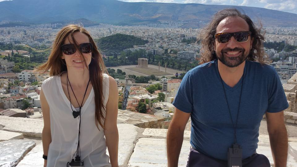 Nassim and Amira at the Acropolis with the Temple of Zeus behind them.